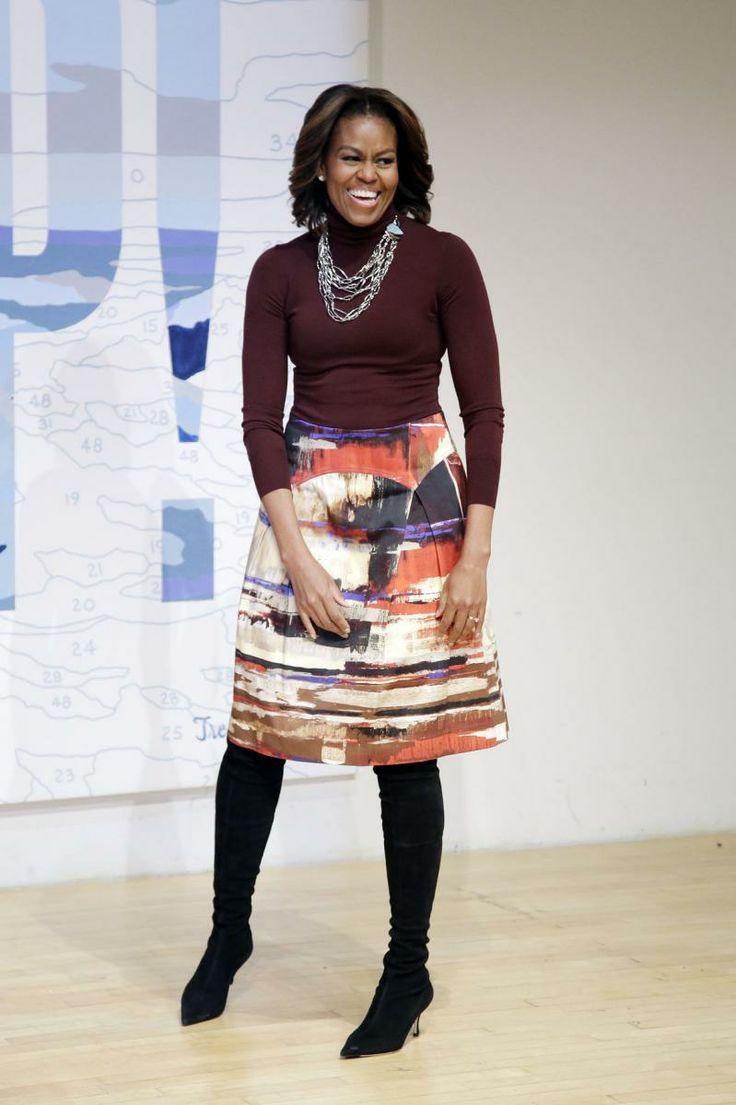 michelle-obama-printed-midi-skirt